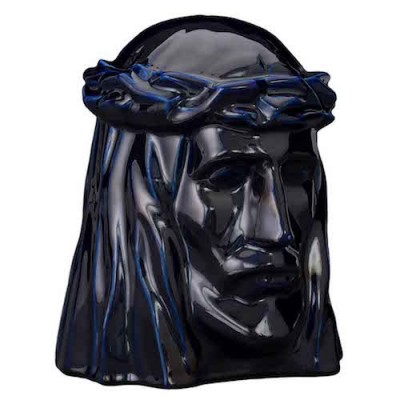Keramische Urn The Christ Cobalt Metallic