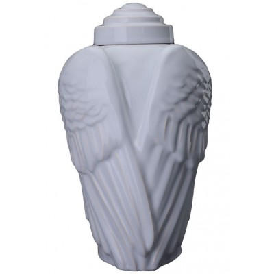 Keramische Urn Wings White